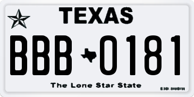 TX license plate BBB0181