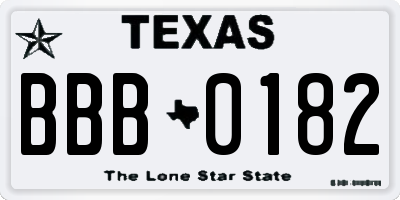 TX license plate BBB0182