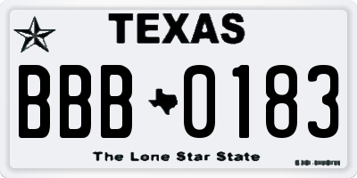 TX license plate BBB0183