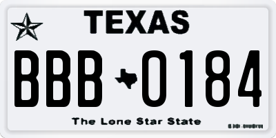 TX license plate BBB0184