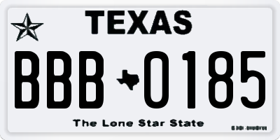TX license plate BBB0185