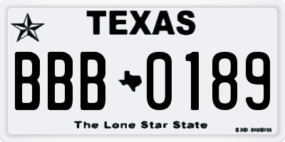 TX license plate BBB0189