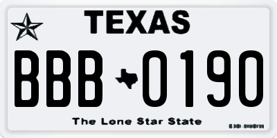 TX license plate BBB0190