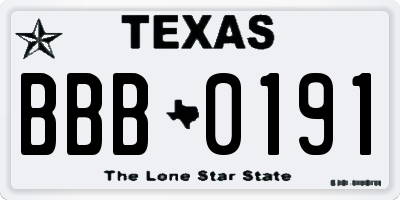 TX license plate BBB0191