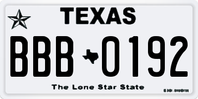 TX license plate BBB0192