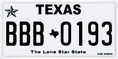 TX license plate BBB0193