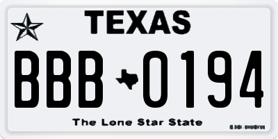 TX license plate BBB0194