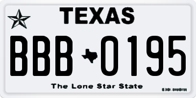 TX license plate BBB0195
