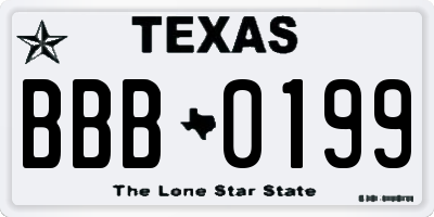 TX license plate BBB0199