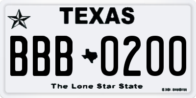 TX license plate BBB0200