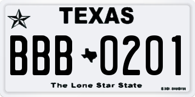 TX license plate BBB0201