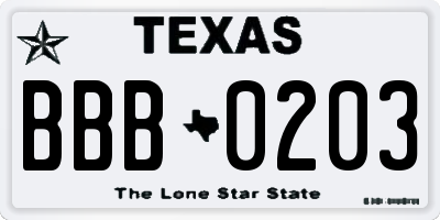 TX license plate BBB0203