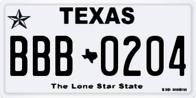 TX license plate BBB0204