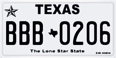 TX license plate BBB0206