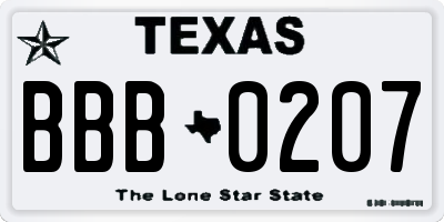 TX license plate BBB0207