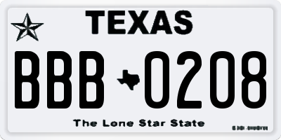 TX license plate BBB0208