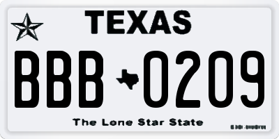 TX license plate BBB0209