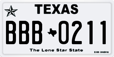 TX license plate BBB0211