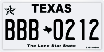 TX license plate BBB0212
