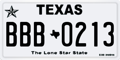 TX license plate BBB0213