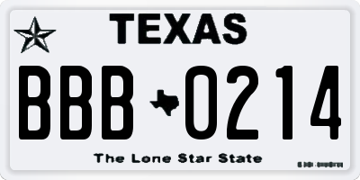 TX license plate BBB0214