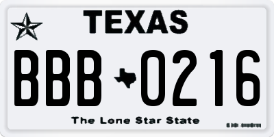 TX license plate BBB0216