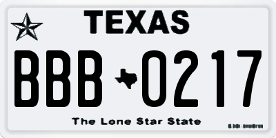 TX license plate BBB0217