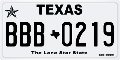 TX license plate BBB0219