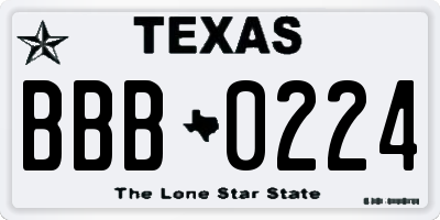 TX license plate BBB0224