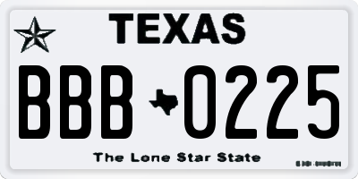 TX license plate BBB0225