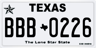 TX license plate BBB0226