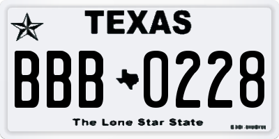 TX license plate BBB0228
