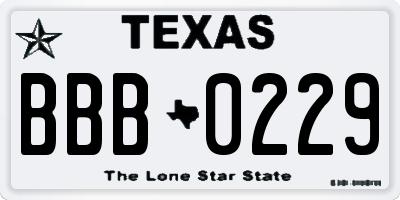 TX license plate BBB0229