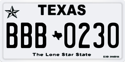TX license plate BBB0230