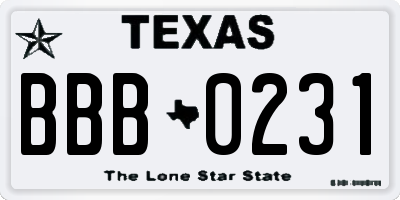 TX license plate BBB0231