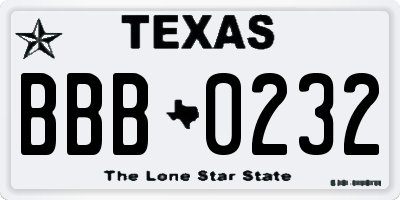 TX license plate BBB0232
