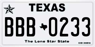 TX license plate BBB0233