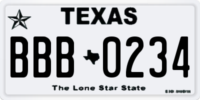TX license plate BBB0234
