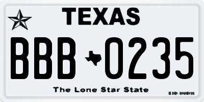 TX license plate BBB0235