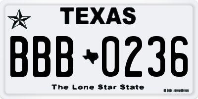 TX license plate BBB0236
