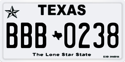TX license plate BBB0238
