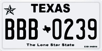 TX license plate BBB0239