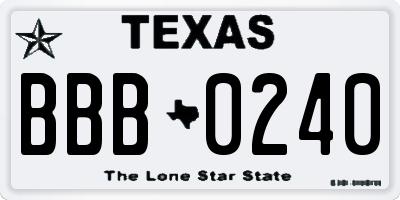 TX license plate BBB0240