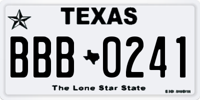TX license plate BBB0241