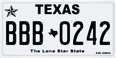 TX license plate BBB0242