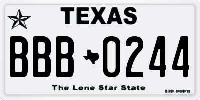 TX license plate BBB0244
