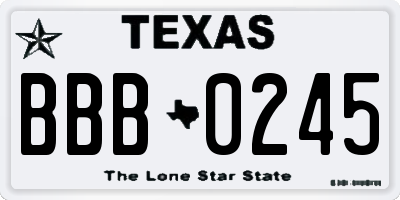 TX license plate BBB0245