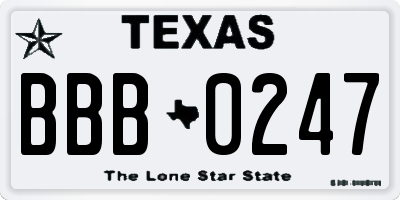 TX license plate BBB0247