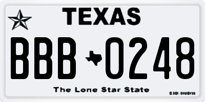 TX license plate BBB0248