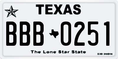 TX license plate BBB0251